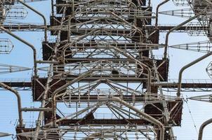 Pripyat, Ukraine, 2021 - Radio tower against the sky in Chernobyl photo