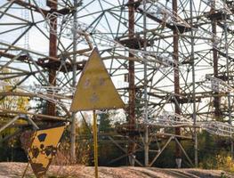 Pripyat, Ukraine, 2021 -Radar sign in Chernobyl photo