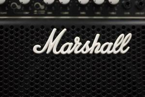 BELGRADE, SERBIA, JULY 23, 2018 - Detail of the Marshall amplifier in Belgrade, Serbia. Marshall Amplification is an English company that designs and manufactures music equipment, founded at 1960. photo