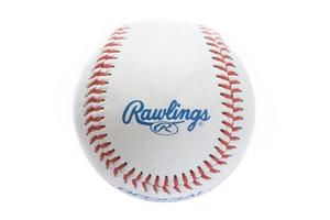 BELGRADE, SERBIA, NOVEMBER 3, 2017 - Closeup view at the Rawlings baseball ball. Rawlings is a sports equipment company based in the United States founded in 1887. photo