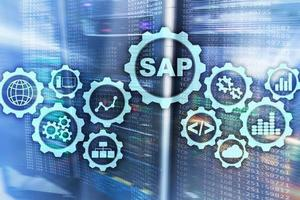 SAP System Software Automation concept on virtual screen data center photo