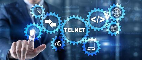 Telnet Virtual terminal client. Internet and Network concept photo