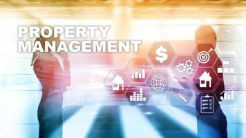 propiedad administrativa. concepto de negocio, tecnología, internet y red. fondo borroso abstracto foto
