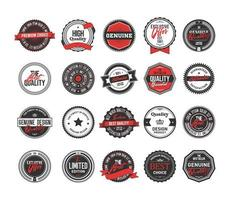 Black, white and red vintage badges collection vector