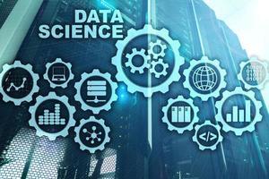 Data Science Artificial Intelligence Concept. Futuristic Supercomputer background photo