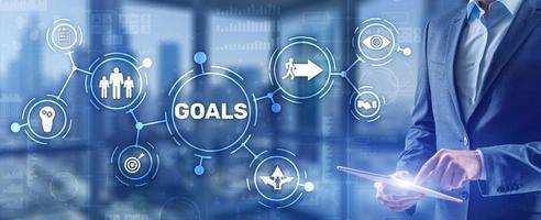 Concepto de apoyo empresarial de estrategia de objetivos de trabajo en equipo foto