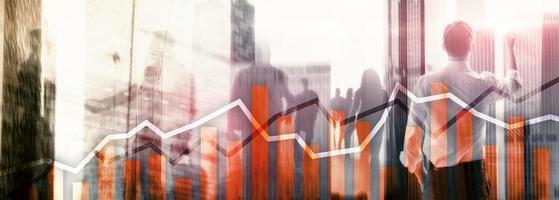 Orange trading charts. Stock exchange concept. photo