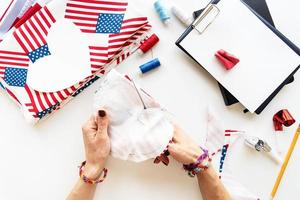 Diy 4th of July step by step needle holder craft. Step 5 - cutting out by over measure line photo