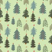 Cute winter season holiday childish seamless pattern with minimalist hand drawn various Christmas tree doodle. Beautiful New Year children naive background design, textile print vector