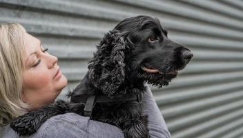 young woman holding her cocker spaniel dog on grey wall background outside photo