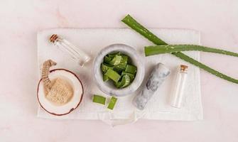 Cosmética natural con aloe vera, sal marina y jabón de coco artesanal vista superior sobre fondo blanco. foto