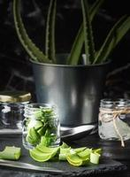 Aloe vera slices in a glass jar front view copy space photo