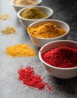 various indian spices in bowls on dark concrete background photo