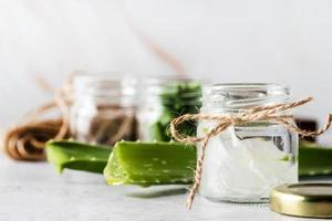 Aloe vera gel in a glass front view copy space photo