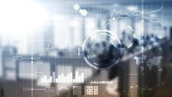 Business intelligence BI Key performance indicator KPI Analysis dashboard transparent blurred background. photo