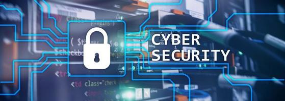 Cyber security, information privacy and data protection concept on server room background photo