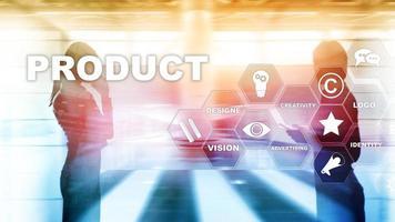 concepto de diseño de promoción de productos comerciales. fondo de doble exposición foto
