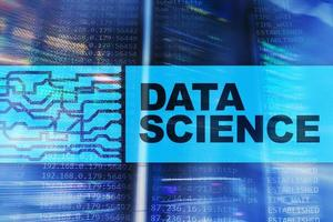 Data science, business, internet and technology concept on server room background. photo