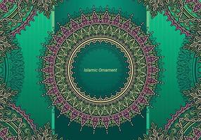Islamic Ornament With Green Background vector