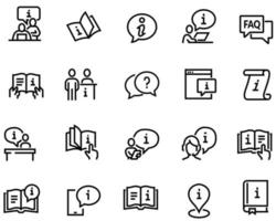 Simple Set of Info and Help Desk Related Vector Line Icons