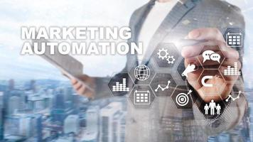 Marketing Automation Software Technology Process System Internet Business concept. Mixed media background photo