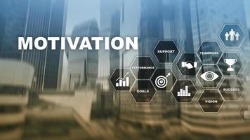 Motivation concept with business elements. Business team. Financial concept on blurred background. Mixed media. photo