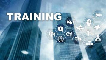 Business training concept. Training Webinar E-learning. Financial technology and communication concept. photo