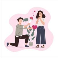 cute couple in love, man proposing to the woman kneeling vector illustration