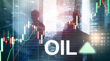 Oil trend up. Crude oil price stock exchange trading up. Price oil up. Arrow rises. Abstract business background photo