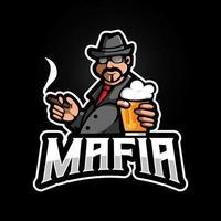 mafia sosteniendo cerveza mientras fuma vector de diseño de logotipo de mascota con estilo moderno de concepto de ilustración para juegos, deportes y equipo