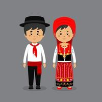 Couple Character Wearing Portuguese National Dress vector