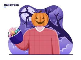 People with pumpkin head or jack o lantern costume celebrate Halloween day with bringing candy basket. Can be used for greeting card, poster, banner, invitation, web, postcard, poster, social media. vector