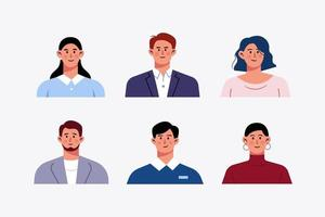 Set of avatar office workers business people character design illustration vector