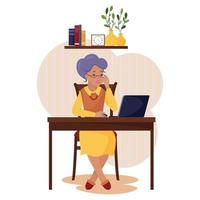 A gray-haired elderly woman is carefully reading something on the laptop screen. The concept of using a computer by elderly people in retirement. The employee works remotely, freelance, teaches. vector