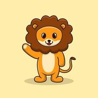 Cute and adorable lion smile and waving hand vector cartoon illustration