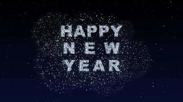 numéro 2022 néon lumineux brillant. 2022 bonne année fond de ciel de nuit sombre avec décoration avec numéro de néon sur fond violet et bleu. modèle de carte de voeux illustration vacances d'hiver video