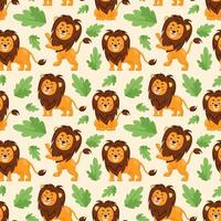Seamless pattern of cute lions in different poses. Collection of cartoon lions and plants. Flat vector illustration
