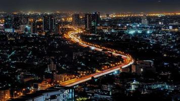 An aerial view of  Bangkok cityscape, Zoom in 4k Time lapse video