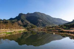 The country river reflects the mountain, and the villages and forests are under the blue sky photo