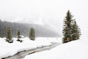 Beautiful winter landscape at Lake Luise, with frozen lake, snowed forest and people in the distance. Canada. photo