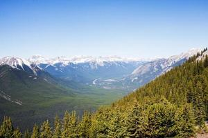 Impressive aerial landscape of Rocky Mountains, forest and valley. Alberta. photo