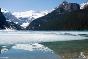 Beautiful scene with Lake Louise partially frozen and the mountains around reflecting on it. Sunny day in spring. Banff National Park, Alberta, Canada. photo