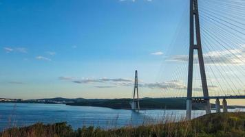 Seascape with a view of the Russian bridge. Vladivostok, photo