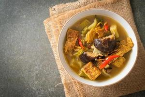 boiled pickled cabbage and bitter gourd soup photo