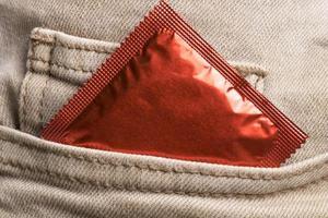 jeans pocket  wrapped condom photo