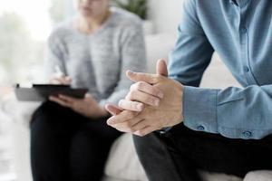 close up view patient psychologist photo