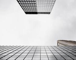 bottom view modern glass buildings photo