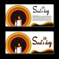 All Souls Day Vector Illustration. Greeting card or background. With candle, leaf, and candlelight icon. Premium and luxury design template