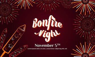 Bonfire Night Flayer. Guy Fawkes Day Background or Greeting Card Design. With gunpowder, fireworks, and bonfire icon. Premium vector template
