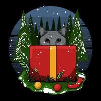 merry christmas kitten gift box vector illustration